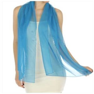 Oblong chiffon solid Blue scarves